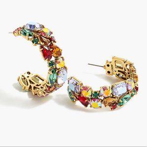 J.Crew Crystal Cluster Irene Hoop Earrings